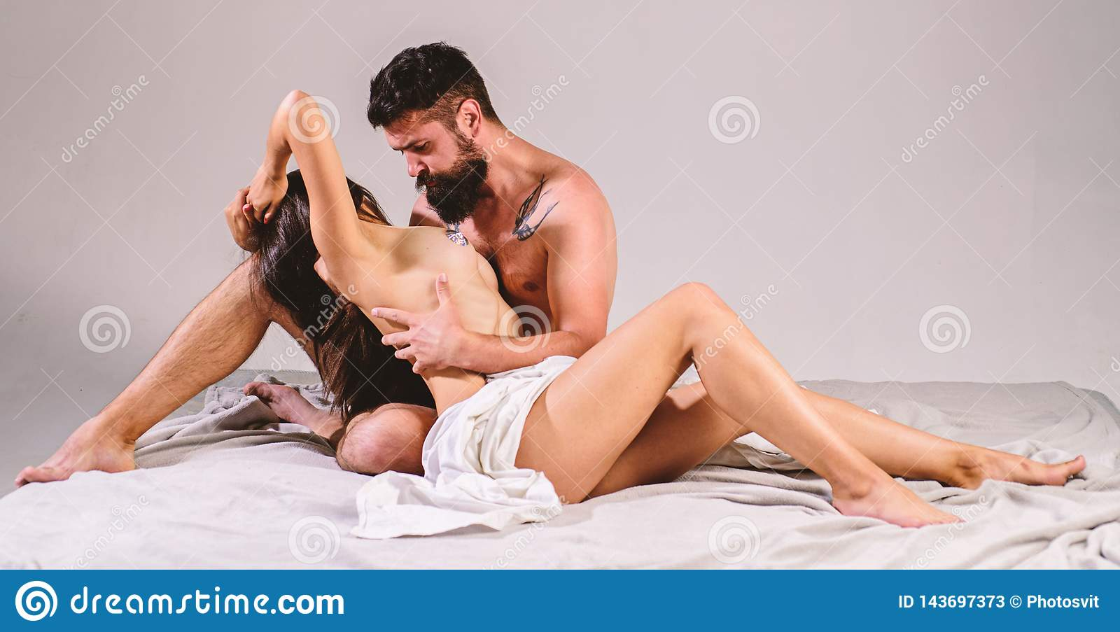 Girl touch man naked