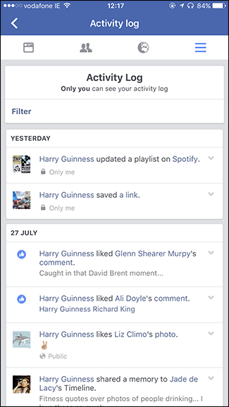 Where to find activity log on facebook app