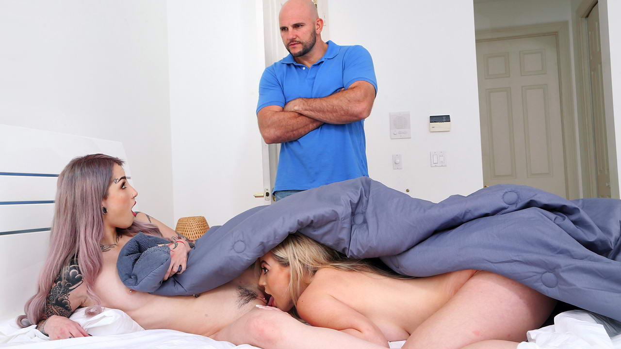 Naked girls having sex with her dad